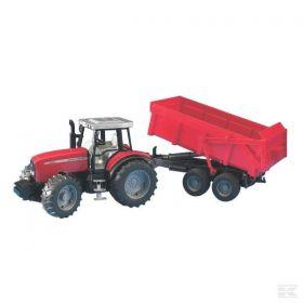 Bruder Tractor Massey Ferguson 7480 cu remorca basculabil